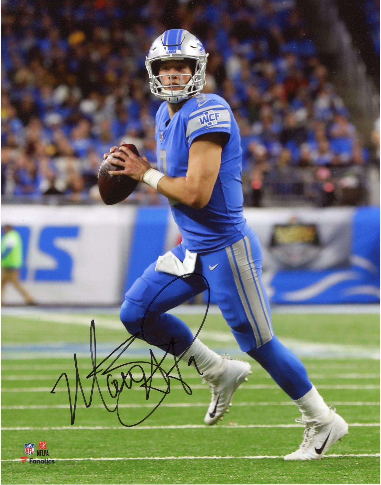 "Matthew Stafford Detroit Lions Autographed 8"" x 10"" Blue Vertical Photograph Fanatics Authentic Certified"