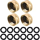 M MINGLE Garden Hose Female End Cap, Brass Spigot Cap, 3/4 Inch, 4-Pack with Extra 12 Washers