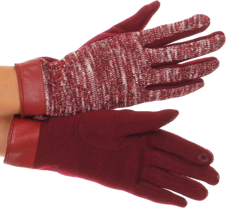 Sakkas Lilith Heather Knit Wrist Length Touch Screen Wrist Snap Winter Gloves