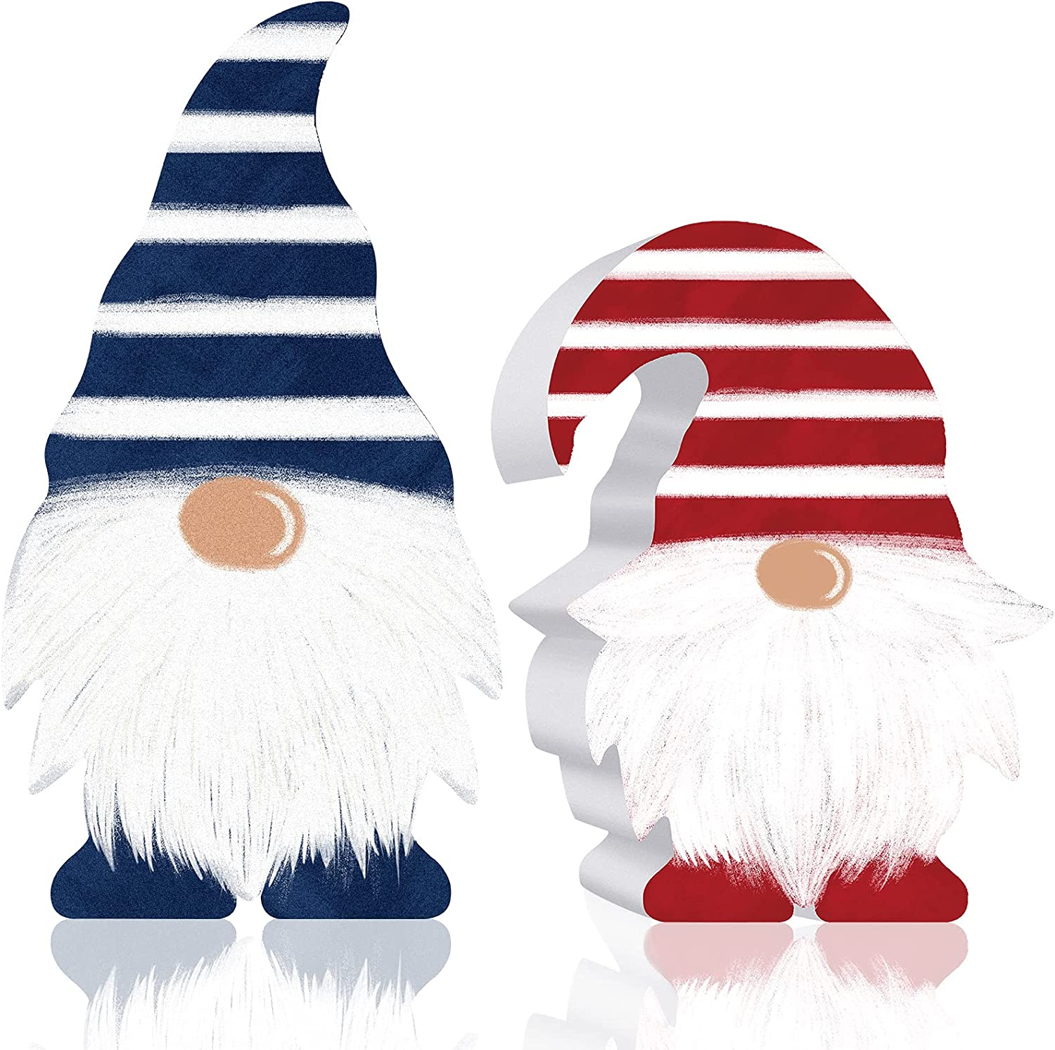 2 Pieces Patriotic Gnome Scandinavian Wooden Sign Elf Gnome Decor Farmhouse Kitchen Decor Memorial Day Birthday Present Tiered Tray Decorations Table Decors for Desk Office Home American Decorations