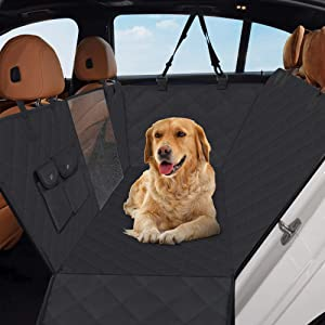 Heeyoo Dog Back Seat Cover, 100% Waterproof Pet Seat Cover with Mesh Visual Window and Storage Pockets, Dog Hammock with Side Flaps