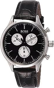 Hugo Boss Mens Quartz Watch, Chronograph Display and Leather Strap 1513543