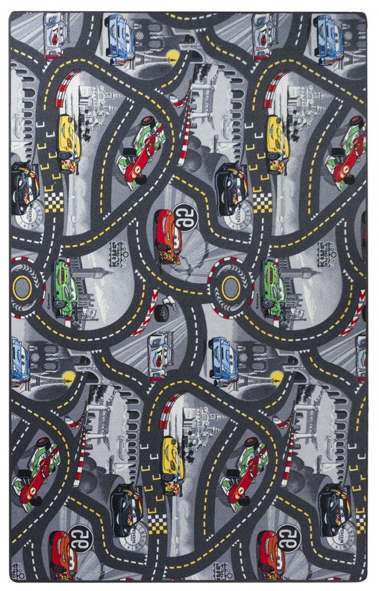 havatex Kinderteppich Cars - Farben: Rot, Blau, Grau   Spielteppich schadstoffgeprüft pflegeleicht strapazierfähig   Kinderzimmer Spielzimmer Zeichentrick Comic, Farbe:Grau, Größe:200 x 200 cm
