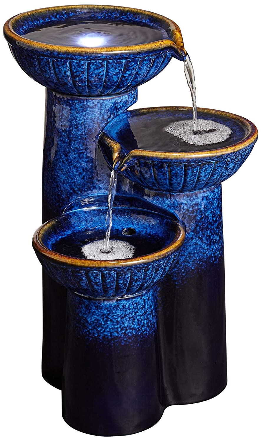 "John Timberland 3-Bowl Ceramic Blue Cobalt 26 3/4"" High LED Fountain"