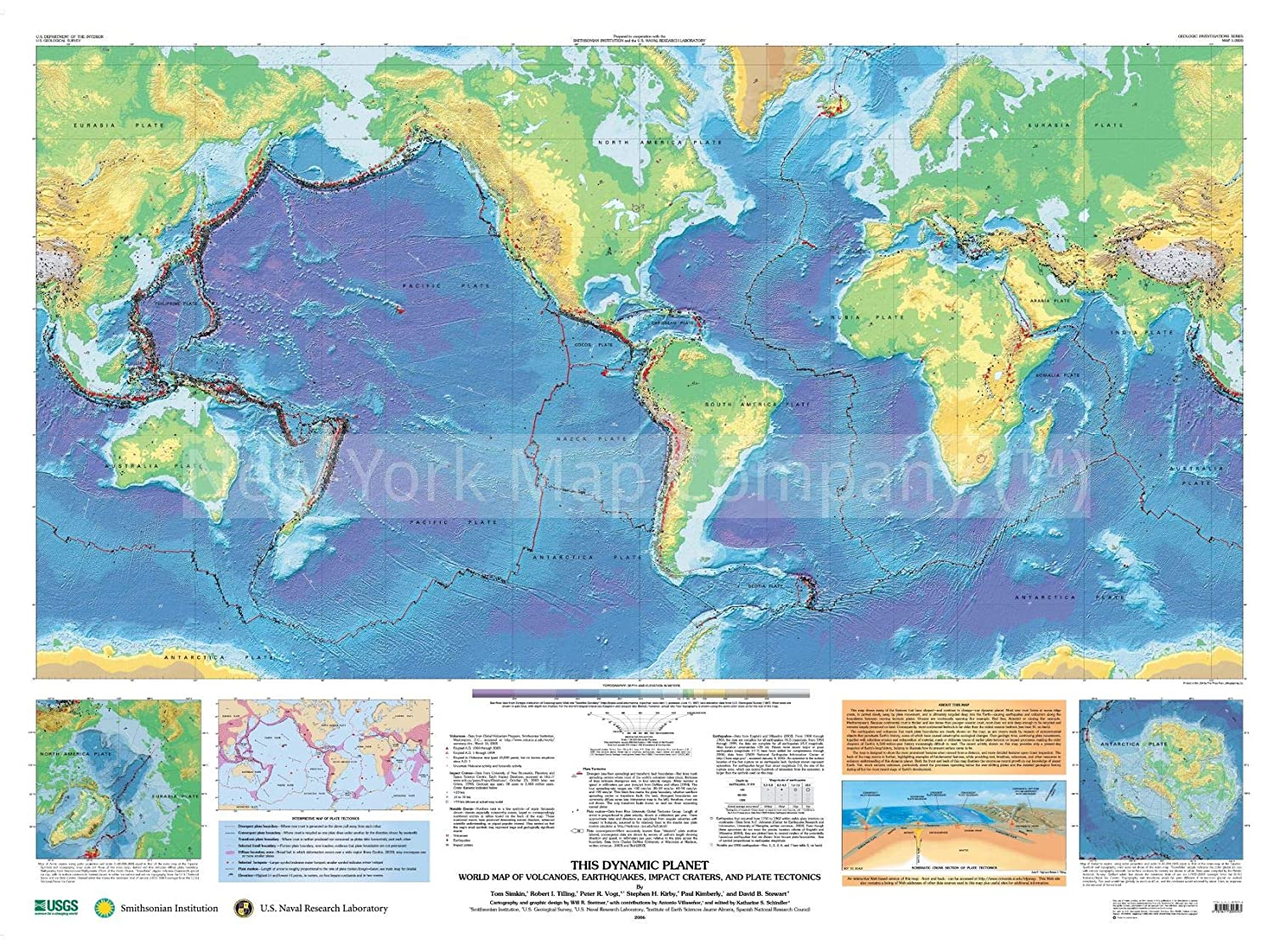 Amazon.com: This Dynamic Planet : World map of Volcanoes ...