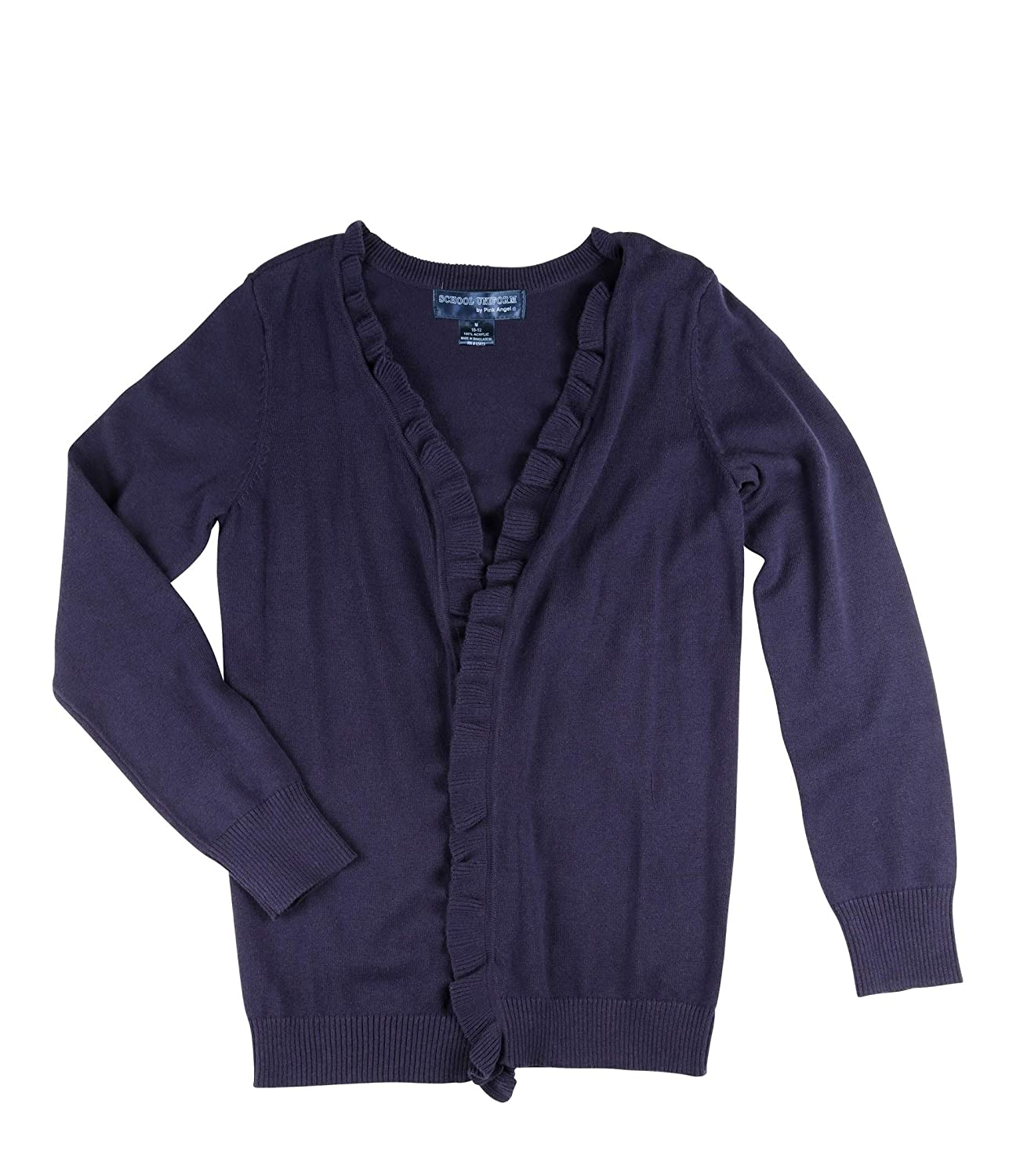 Girls Ruffled Placket Open Cardigan School Uniform Sweater