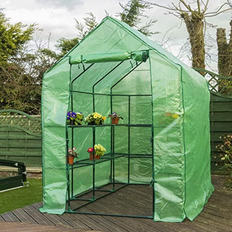 Woodside Walk In Garden Greenhouse 8 Shelf Pot Plant Growhouse with PVC Cover