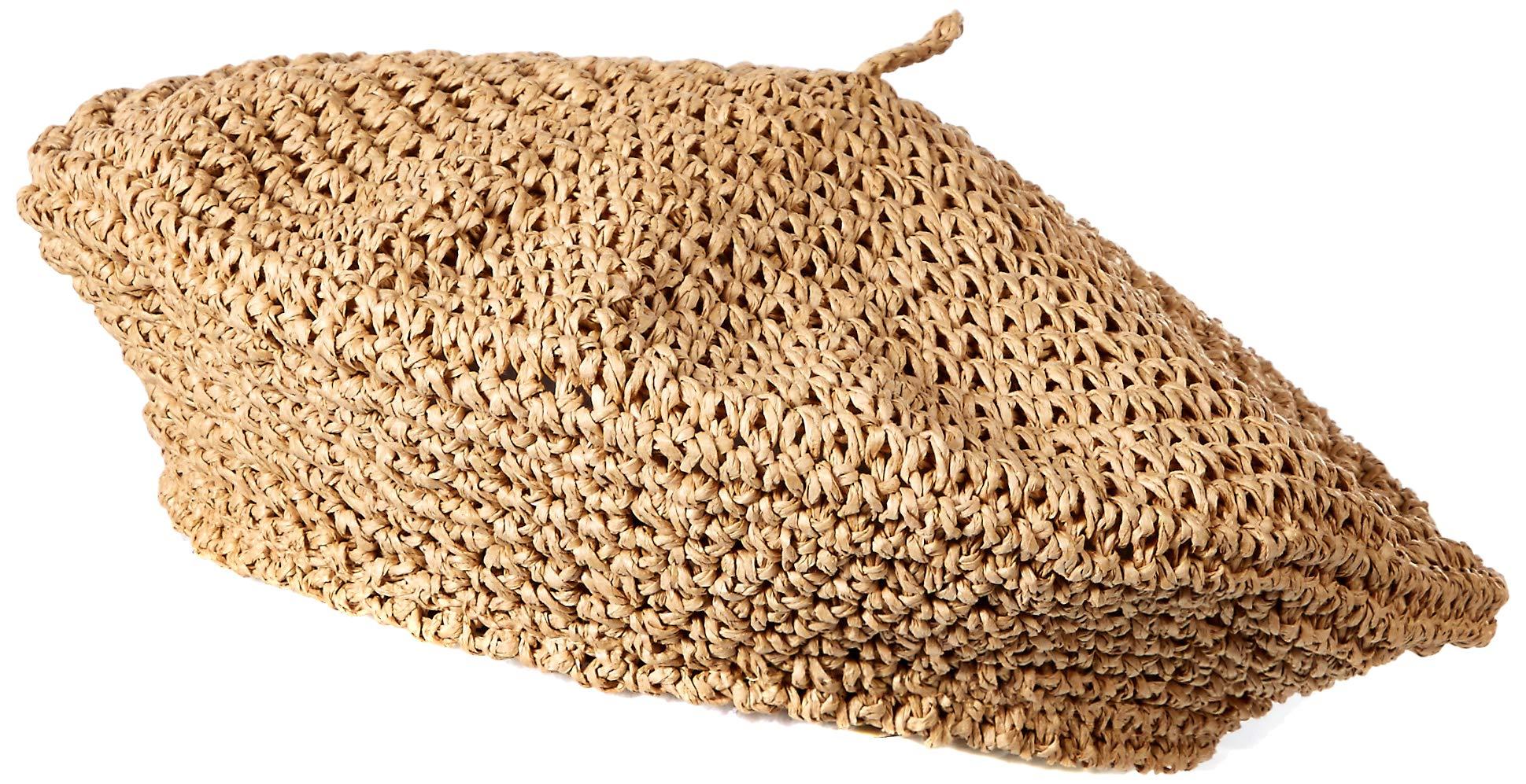 Steve Madden Women's Paperstraw Crochet Beret, tan One Size