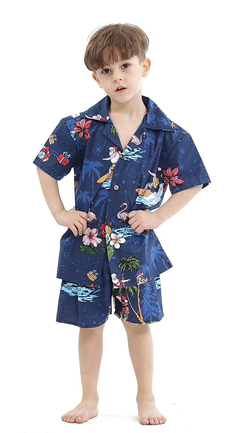 Hawaii Hangover Boy Aloha Luau Shirt Christmas Shirt Cabana Set in Red Santa