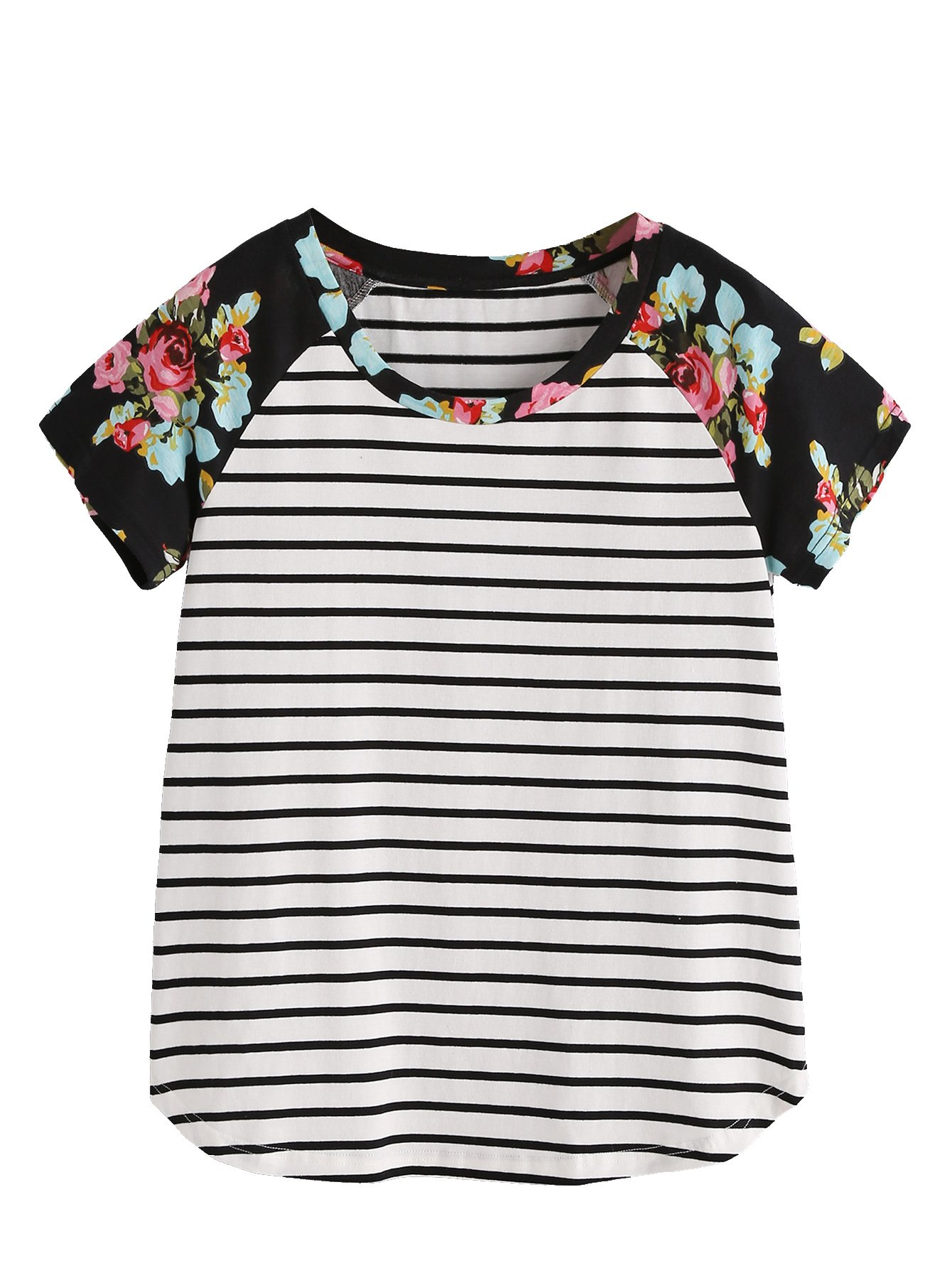 Romwe Women's Floral Print Short Sleeve Tops Striped Casual Blouses T Shirt Black XS