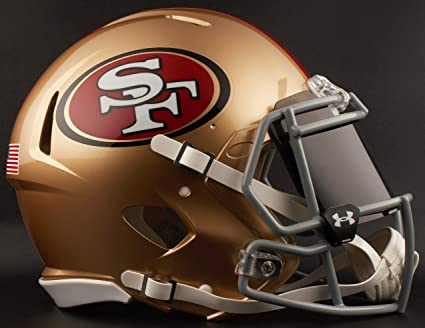 4439143fc Image Unavailable. Image not available for. Color  Riddell SAN Francisco  49ERS NFL Football Helmet with Dark-Tint Black Visor Eye