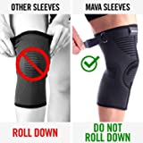Mava Compression Knee Sleeves Support - NO ROLL