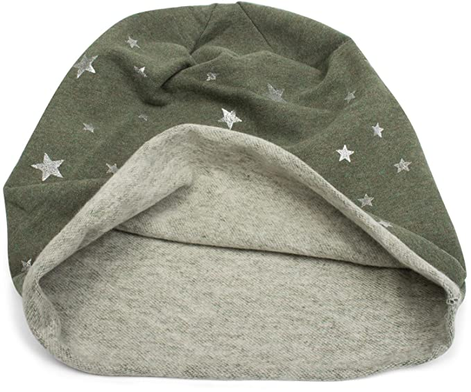 4679d79e0e8 styleBREAKER Beanie Hat with All-Over with Metallic Star Print and Turn up
