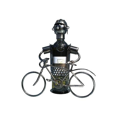 eXODA Porta Botellas de Vino metálico Ciclista Adornado Decorativo