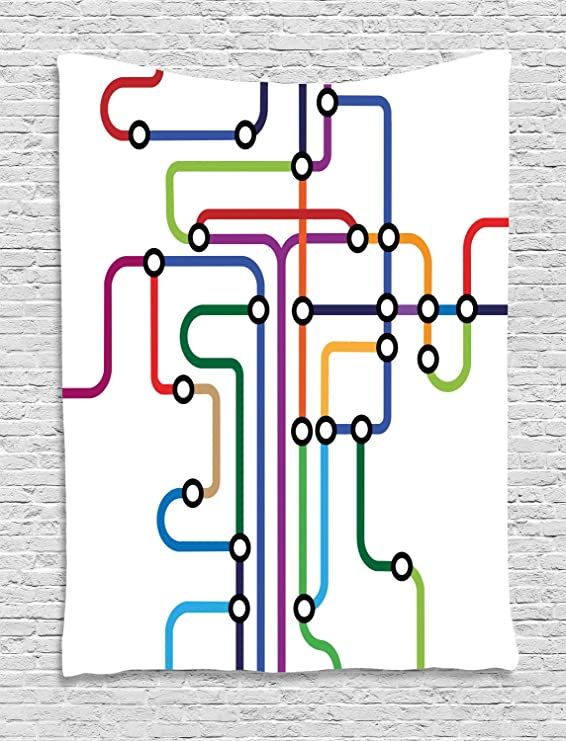 ABAKUHAUS Mapa Tapiz de Pared, Metro Abstracto Colorido, para el ...