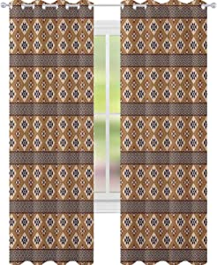 """YUAZHOQI Geometric Curtains for Living Room Bohemian Rhombus Composition with Triangles Composition Mexican Folklore for Kids Decor Customized Curtains 52"""" x 108"""" Multicolor"""