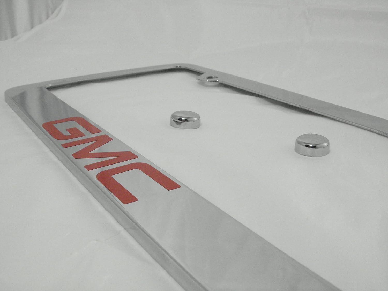 GMC Chrome License Plate Frame with Caps