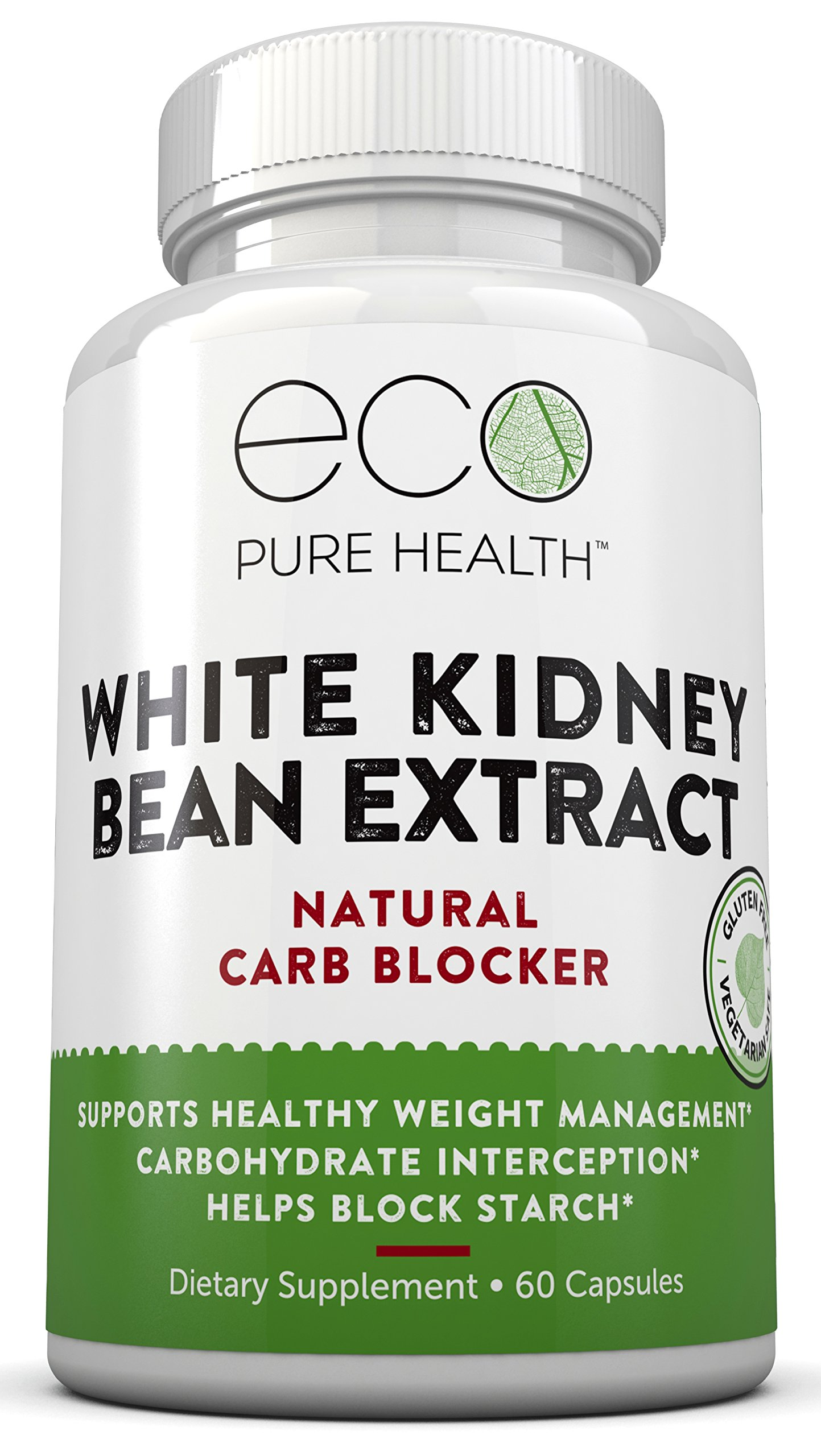 White Kidney Bean Extract, Natural Carb Blocker, Boosts Metabolism, Helps Suppress Appetite, 60 Capsules By Eco Pure Health