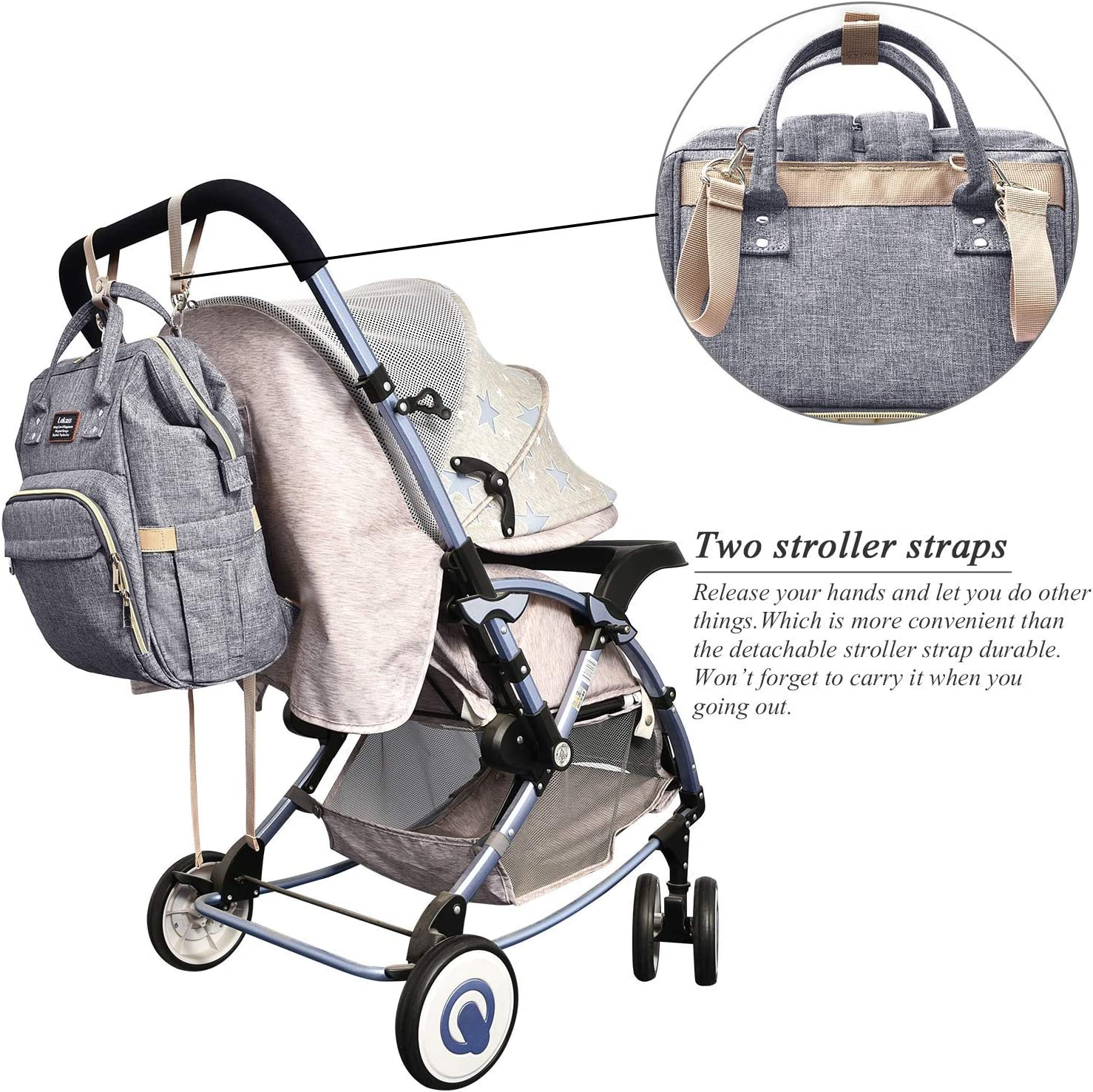 Grey BRINCH Nappy Bag Backpack Baby Bag Water Resistant Multi-Functional Diaper Bag Travel Nursing Backpack w//Changing Pad,Insulated Pouch /& Stroller Straps for Mom//Baby Care//Women