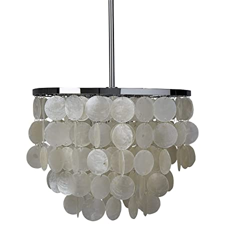 Rivet Capiz Shell Chandelier With Bulbs, 19.5 to 61.5 H, Chrome