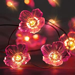 Pink Cherry Blossom String Lights 3D Flower 10ft 30 LEDs Lights Battery Powered with 8 Modes, Remote Control Waterproof Decoration for Valentine's Day Spring Wedding Birthday Parties