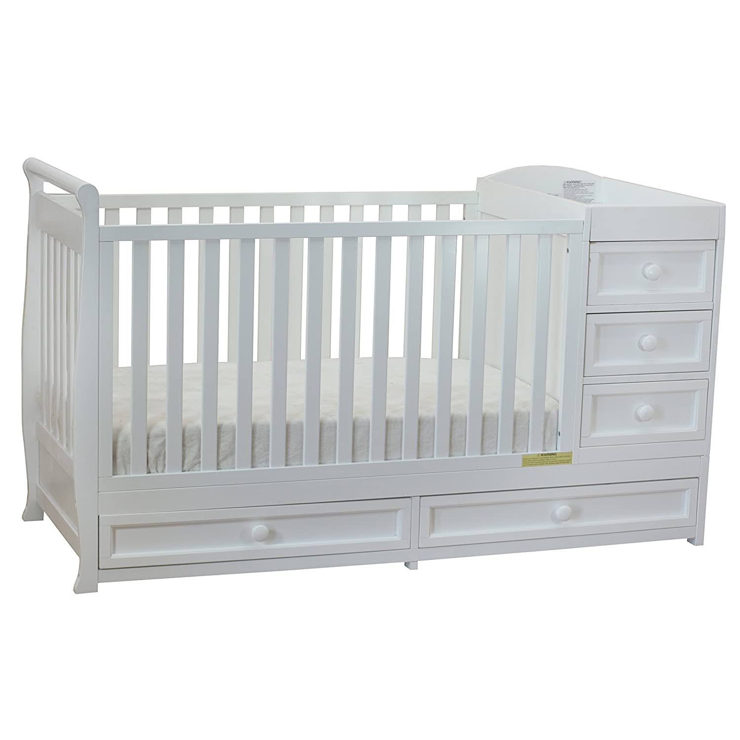 Athena Daphne Convertible Crib and Changer, White