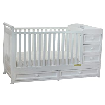 athena daphne convertible crib and changer white - White Baby Crib