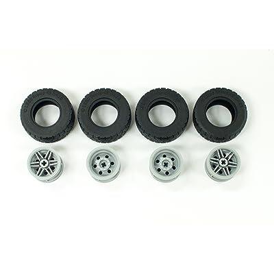 LEGO New Black Tire 49.5x20 (x4) and Light Bluish Gray Wheel 30.4mm x 20mm (x4): Toys & Games