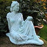 "QUAN YIN Holding LOTUS FLOWER 16"" STATUE ORIENTAL Asian BLUE-GREEN STAIN OUTDOOR Indoor GARDEN Statuary CAST CEMENT Made in the USA"