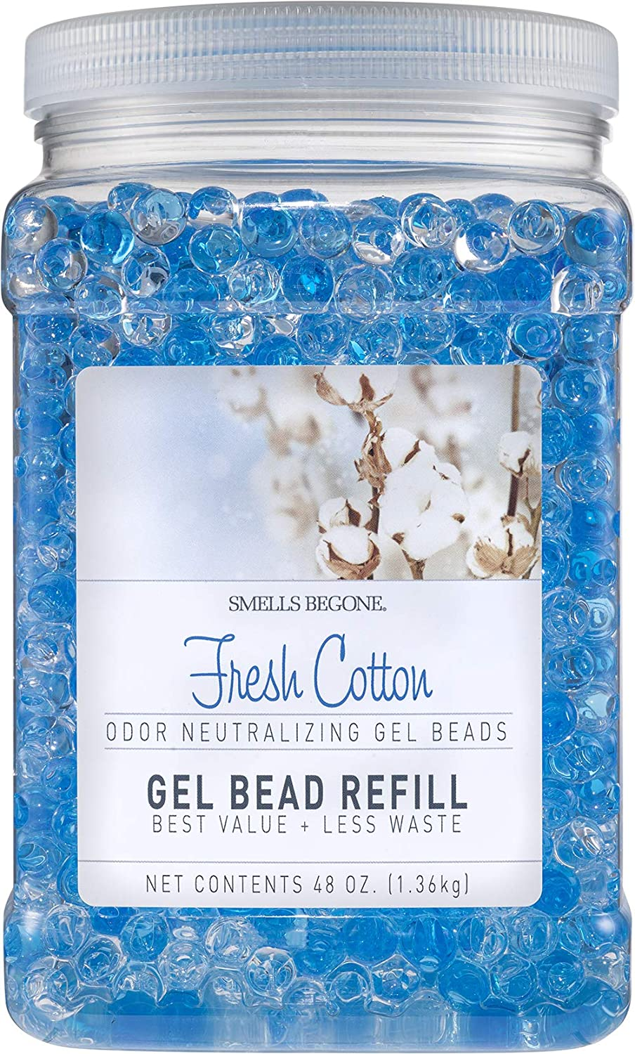 SMELLS BEGONE Odor Eliminator Gel Bead Refill - Eliminates Odors from Bathrooms, Cars, Boats, RVs & Pet Areas - Formulated with Essential Oils - Fresh Cotton Scent - 48 Ounce