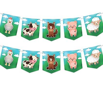 Amazon.com: Pancarta de fiesta de animales de granja ...