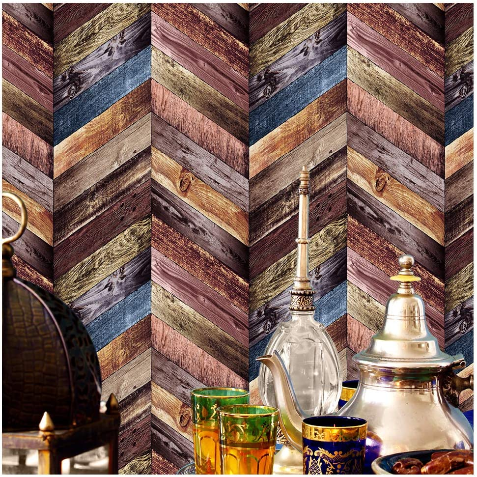 Colorful Faux Wood Textured Paneling Wall Mural Kitchen Bedroom Living Room Hotels Wall Decoration 20.8 x 32.8ft 3176 Chevron Wood Wallpaper Rolls
