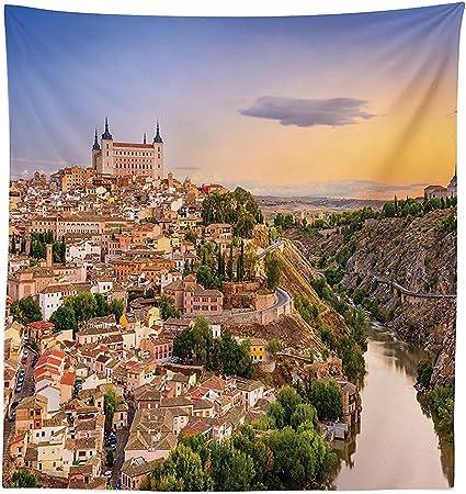 vipsung Wanderlust Decor Mantel Toledo España Antigua Ciudad Sobre el río Tajo Centro Castillo Arquitectura Antigua Comedor Cocina Funda para Mesa Rectangular: Amazon.es: Hogar