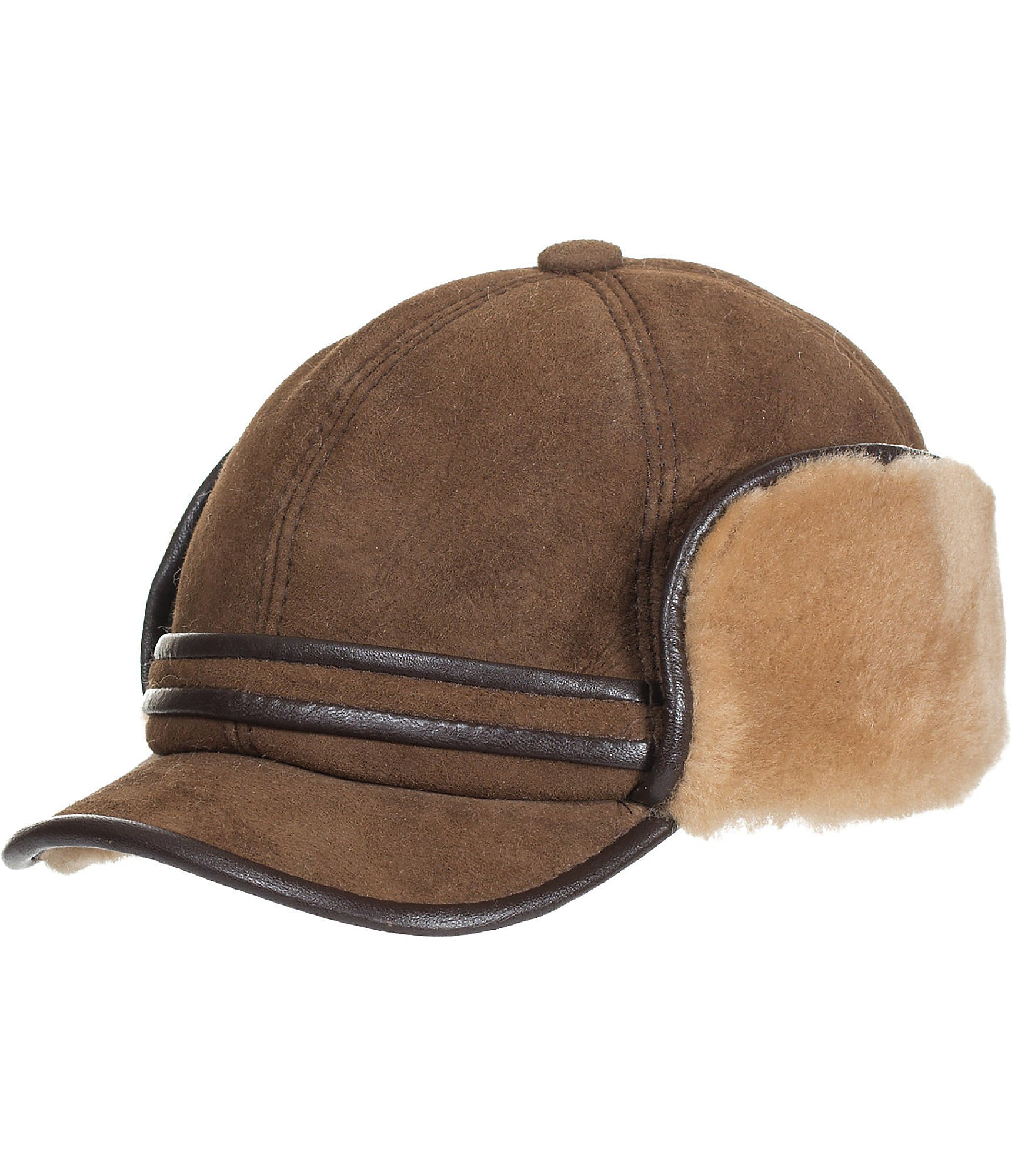 Shearling Sheepskin Cadet Cap with Snap Flaps, SUEDE CASTANO, Size Large (7 1/4–7 3/8)