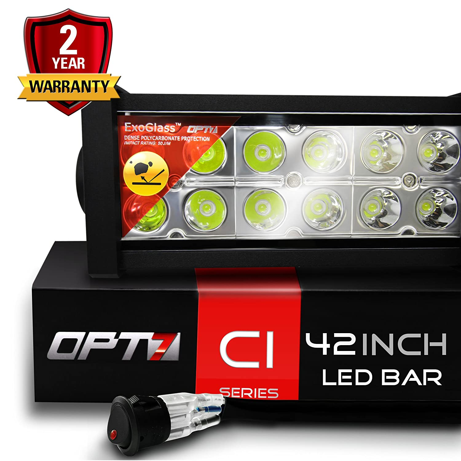 "Amazon.com: OPT7 C1 42"" Off-Road LED Light Bar w/ Wire Harness and Switch -  240w Spot Auxiliary Lamp: Automotive"