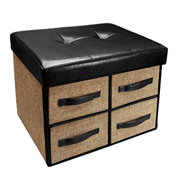 Pleasant Ikee Design Folding Storage Bench Faux Leather Linen Collapsible Foot Rest Stool Seat With 4 Drawers Ibusinesslaw Wood Chair Design Ideas Ibusinesslaworg