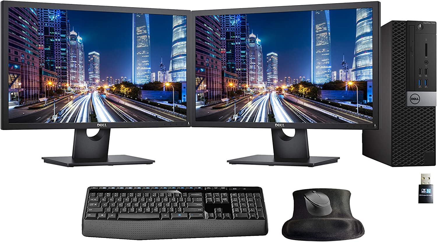 Dell Optiplex 7040 Small Form Factor Desktop Bundle with Intel i7, 16GB, 500GB SSD, 2 x 24in Monitors, WiFi, Windows 10 Pro (Renewed)