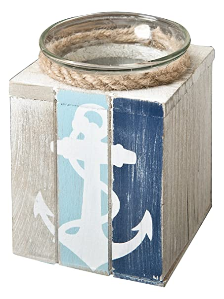 Anchor Rope  Wood Block Tealight Candle Holder