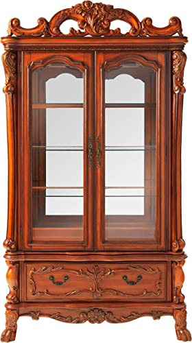 ACME Dresden Curio Cabinet – – Cherry Oak