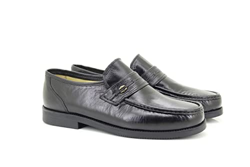 Roamer - Mocasines de cuero para hombre, color negro, talla 39.5