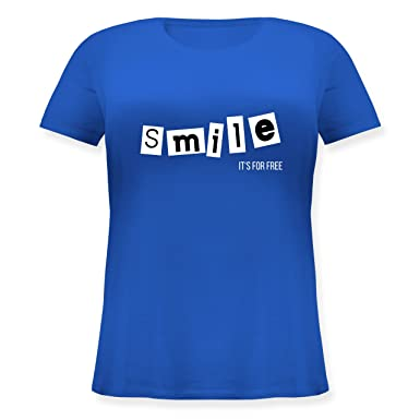 Shirtracer Statement Shirts - Smile It's For Free - S (44) - Blau -