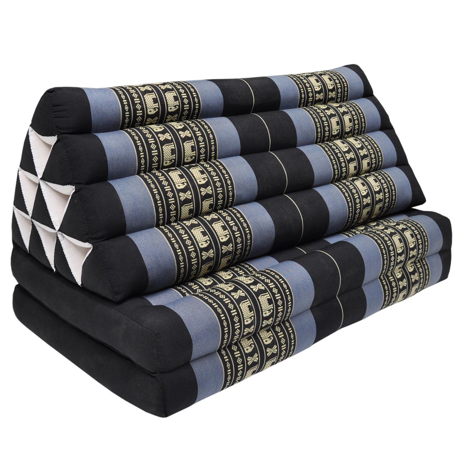 Coussin Thailandais triangle XXL avec assise 2 plis, détente, matelas, kapok, fauteuil, canapé, jardin, plage Noir/Violet avec éléphants (81317)