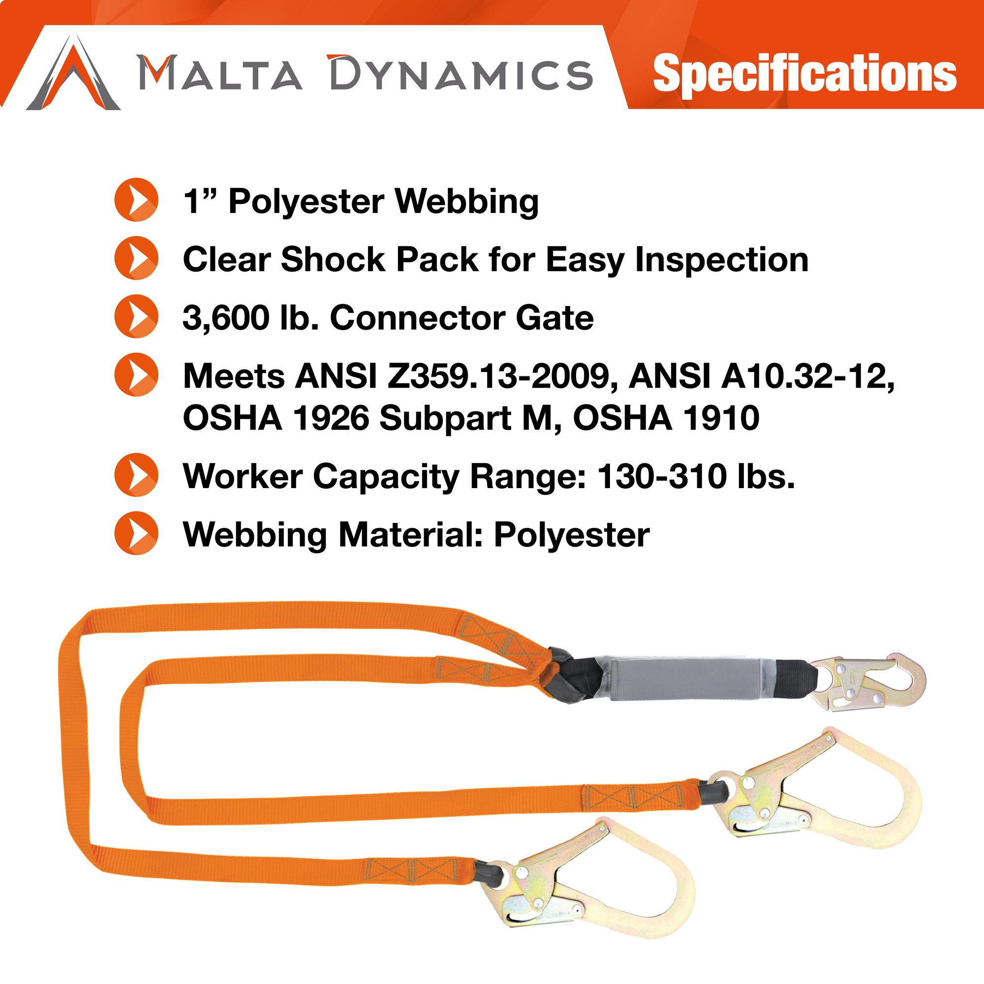Malta Dynamics Fall Protection Six-foot Double Leg External Shock Absorbing Lanyard with Two Rebar Hooks and One Steel Snap Hook by Malta Dynamics (Image #2)