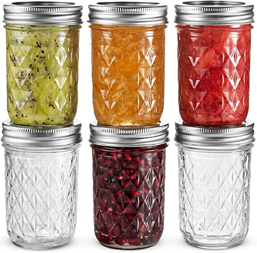 12-Pk 1-Pint Freezer Microwave Safe Pickle Jam Preserve Glass Canning Jars w Lid