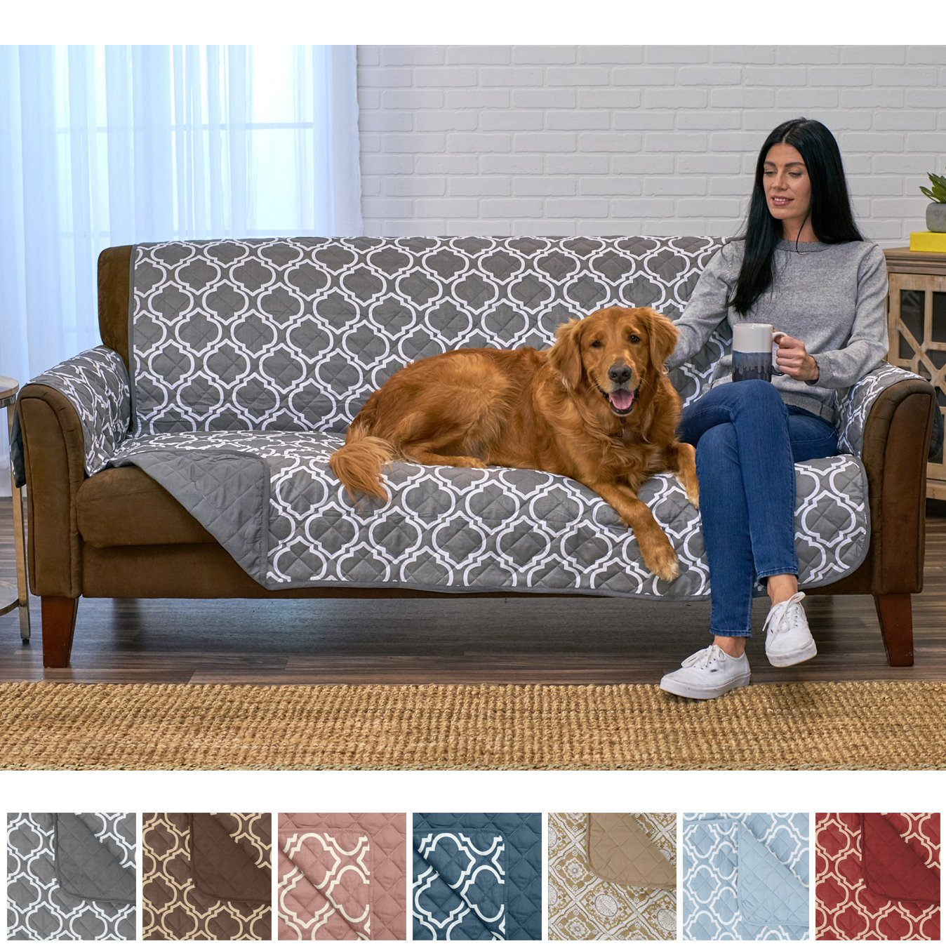 Home Fashion Designs Adalyn Collection Deluxe Reversible Quilted Furniture Protector. Beautiful Print on One Side/Solid Color on The Other for Two Fresh Looks Brand. (Sofa/Couch, Charcoal)