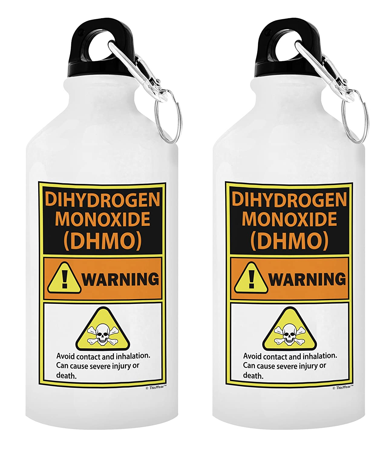 42b320d97a Amazon.com : ThisWear Funny Science Gifts Dihydrogen Monoxide Warning Label  H20 Pun Periodic Table Gifts for Science Nerds Gift 20-oz Aluminum Water  Bottle ...