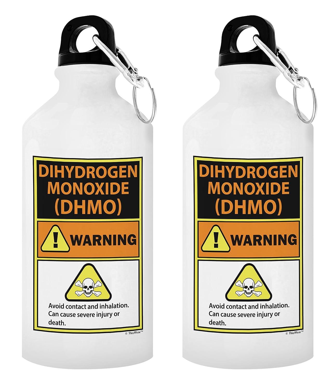 Diwasserstoff-Kohlenmonoxid Warnhinweis H20 Wortspiel Geschenk Aluminium Wasser Flasche mit Cap & Sport Top