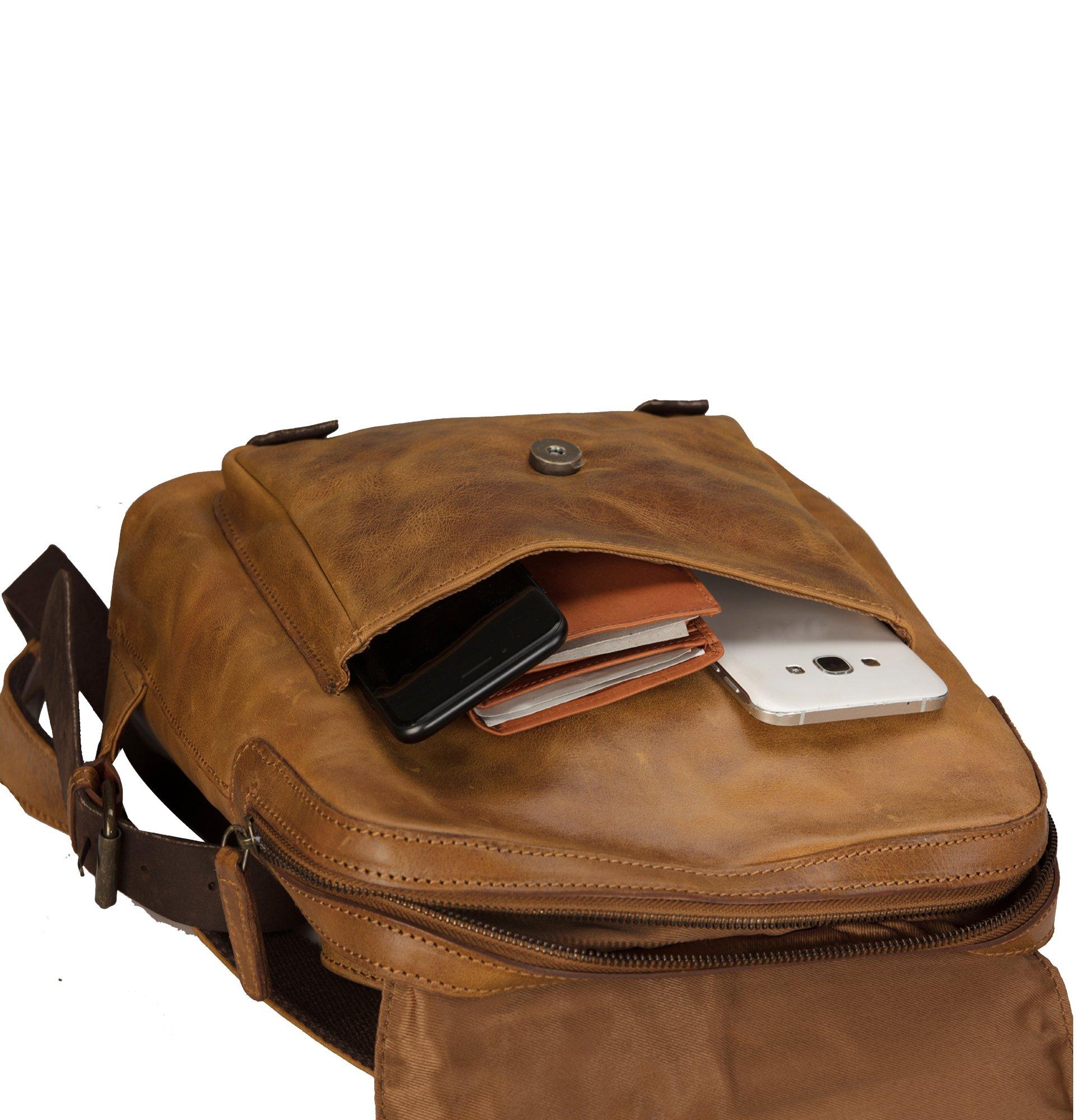 Finelaer Vintage Genuine Leather Backpack DayPack Travel College Bag Brown Men Women by FINELAER (Image #9)