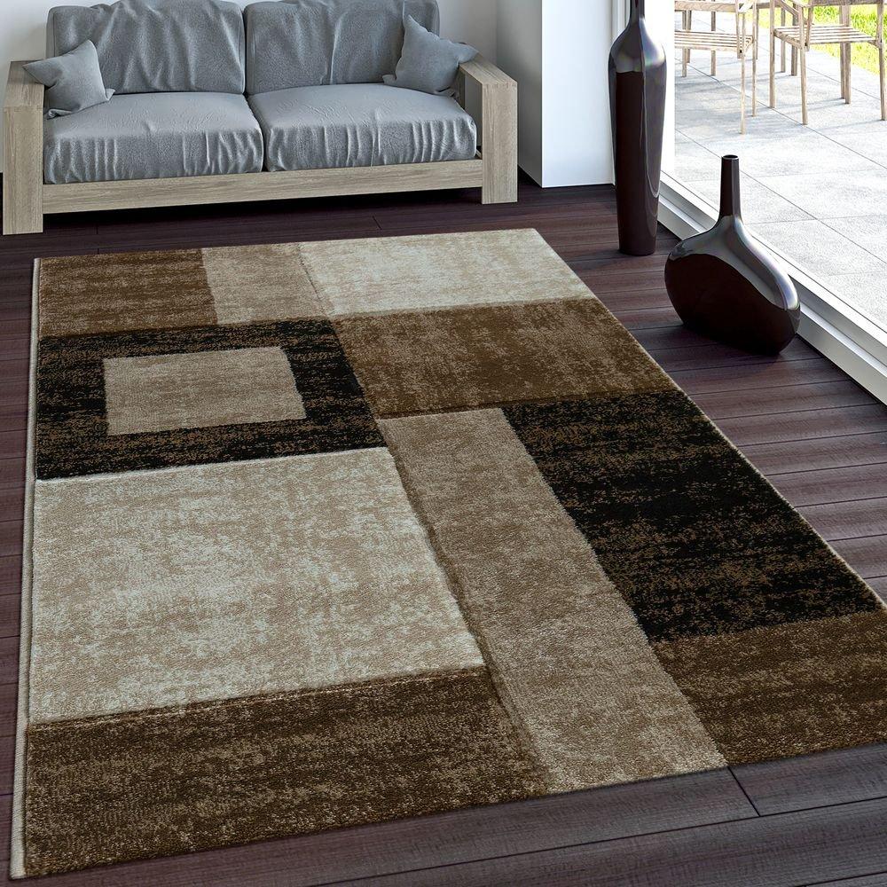 Paco Home Designer Teppich Modern Geometrische Muster Vintage Stil Braun Beige Creme, Grösse 160x230 cm