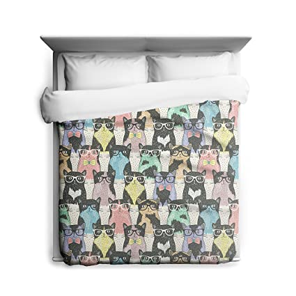 Nerdy Cat Duvet Cover Rainbow Kittens With Glasses Geek Home Decor